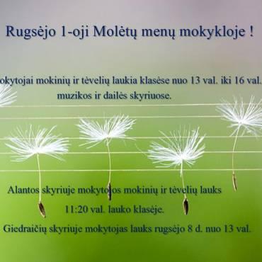 Rugsėjo 1-oji Molėtų menų mokykloje!